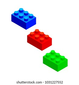 Set of colored 3d building blocks