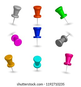 Set of colored 3d pushpins, isolated on white background, vector illustration.