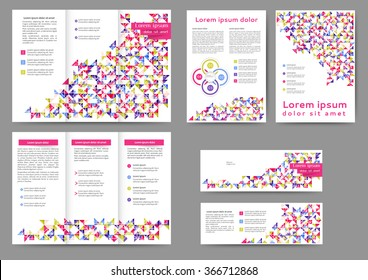 Set of colored abstract brochure template with geometric elements for your business