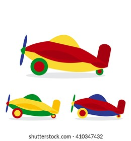 Set of colored airplanes. Children's toy. Flat design style. Aircraft icon. Air transport. Vector illustration.