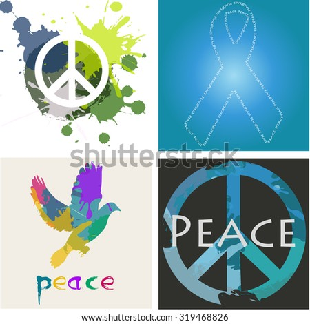 Set Colored Backgrounds Different Peace Symbols Stock Vector