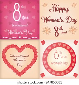 a set of colored backgrounds with text and different elements for women's day