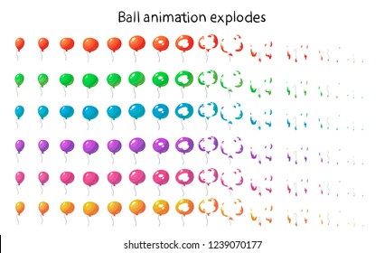 Set of colored balloons. Animation of a balloon explosion.