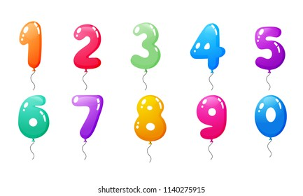 Set of colored balloons with numbers. Decoration for happy children's holiday, anniversary, carnival. Birthday fun kids party celebration. Balloons from zero to nine. Vector illustration.