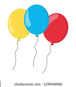 Set of colored balloons on white background, vector
