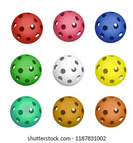 set of colored balls for floorball of six pieces on white background