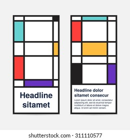 Set of colored banners in mondrian style or booklet for modern business design