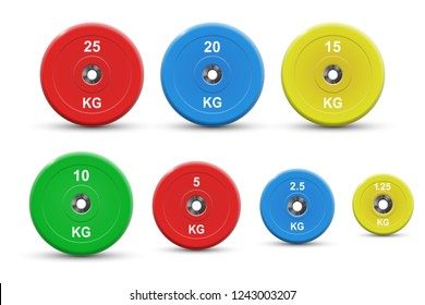 Set of colored barbell plates, vector illustration, isolated on white
