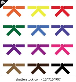 Set Colored belts for martial arts kimono, dogi judo, taekwondo, hapkido, karate. Red, blue, yellow, green, brown, black.