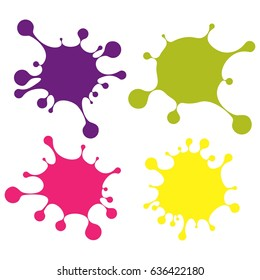 Set of colored blobs. Flat vector cartoon illustration. Objects isolated on a white background.
