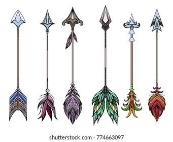 Set of colored boho arrows. Vector element for your creativity