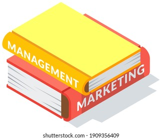 Set of colored books icons in isometric design cartoon style. Horizontal stack of various manuals lying one on top of other. Education infographic template design with books pile on white background