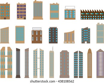Set of colored buildings and skyscrapers illustrated on white