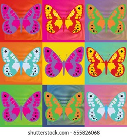 Set of colored butterflies illustration Pop Art Andy Warhol