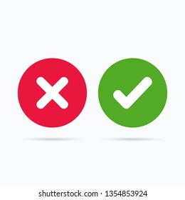 Set of colored buttons with a cross and checkmark isolated on a white background. Cross & check mark icons. Cross and check mark. Check mark icon. Mark button. True and false symbols
