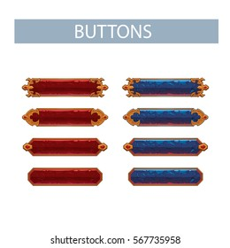 Set of colored buttons, vector illustration