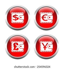 Set of colored buttons for web, purses currency. Vector.