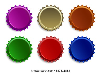 Set of colored caps for beer bottles