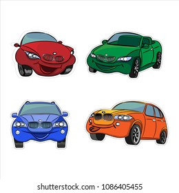 A set of colored car stickers. Funny and smiling. Vector illustration.