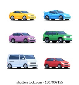 Set of colored cars. Personal transport, minibus, SUV, sports car, hatchback. Vector illustration isolated on white background