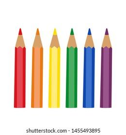 set of colored cartoon pencils, Vector illustration