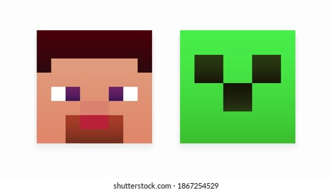 A set of colored cartoon pixel heads isolated on a white background. A set of character skins in the style of eight-bit games. Vector illustration