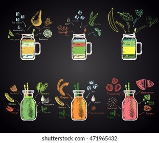 Set of colored chalk drawn illustrations of different smoothies in a bottle with ingredients: tropical green smoothie, watermelon, kiwi-lime, pumpkin, aloe ginger, banana spinach smoothie. Sugar free!