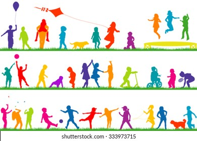 Set of colored children silhouettes playing outdoor