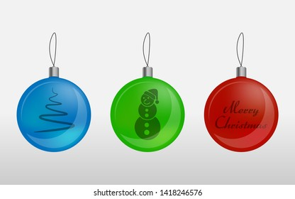 Set of colored Christmas toys. Glass multi-colored balls for the New Year.  Vector balls on the Christmas theme.