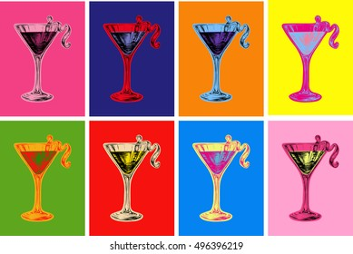Set of Colored Cosmopolitan Cocktails Vector Illustration