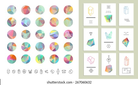 Set of colored crystal circles in polygon style with geometric shapes.Trendy hipster retro backgrounds and logotypes plus collection of cards.
