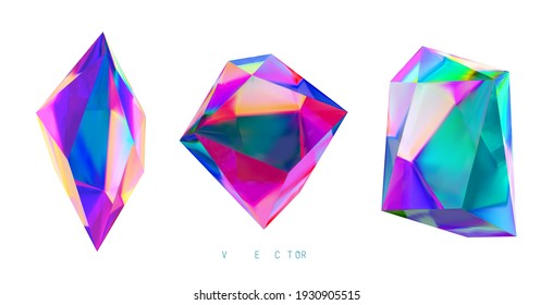 Set of colored crystals on a white background. Mesh. No trace.