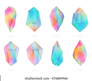 Set of colored crystals in polygon style