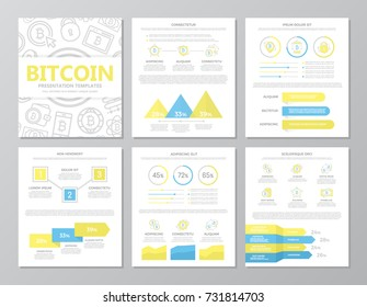 Set of colored digital money and bitcoin elements for multipurpose a4 presentation template slides with graphs and charts. Leaflet,  marketing, advertising, annual, book cover design.