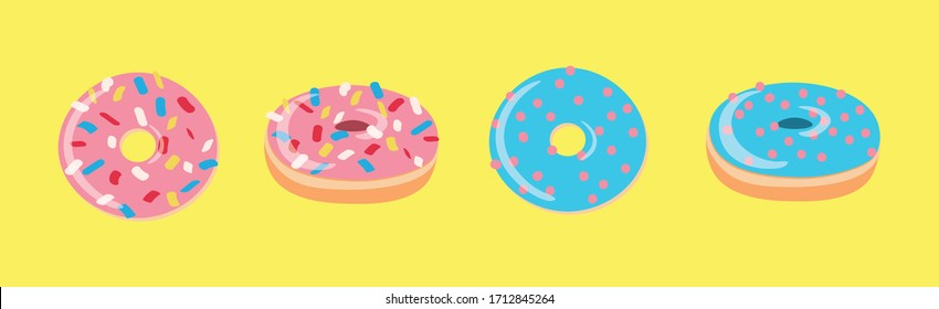 Set of colored donuts in vector isolated on yellow background. Top View Donuts collection in enamel for menu design, coffee decoration, delivery box. illustration in flat style.