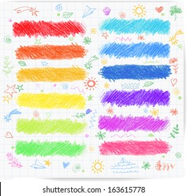 Set of colored doodle sketch banners. Hand-drawn with crayons. Vector illustration.