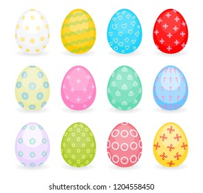 Set of colored eggs for Easter holiday. Painted eggs as traditional Easter symbols