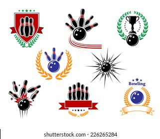 Set of colored emblems and bowling badges with ninepins, strike, bowling balls, trophy, wreath, shield and banners isolated on white