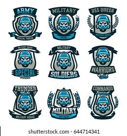 A set of colored emblems, logos, a skull in a military helmet and a gas mask. Military actions, conflict, war, soldier, warrior, sport, shield. Vector illustration, isolated objects