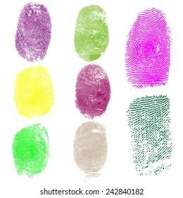 Set of colored fingerprints, vector illustration isolated on white