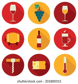 Set of colored flat design round vector icons related to wine: red wine glass, grapes, white white glass, barrel, wine bottle, mulled wine glass, corkscrew, cheese, thermometer. Isolated on white