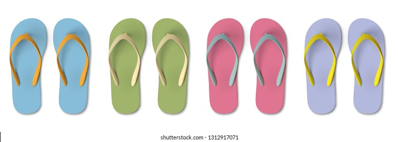 Set of colored Flip flops - summer, beach slippers. Realistic Isolated vector elements for design travel,holiday. - Vector