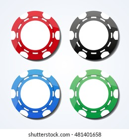 Set of colored gambling chips, isolated, vector illustration