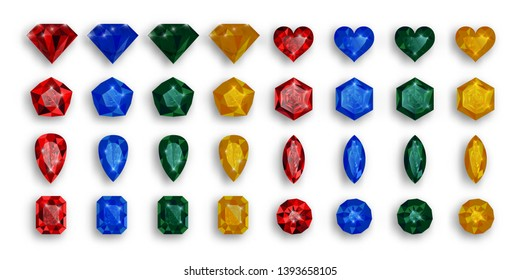 Set of colored gems. Vector illustration of rubies, sapphires and emeralds.