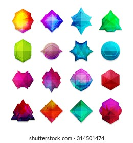A set of colored gemstones in the geometric style. Good for a logo, label, badge, icons. Vector.