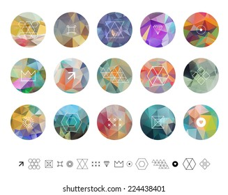 Set of colored geometric crystal circles in polygon style with geometric shapes. Geometric hipster retro background and logotype.