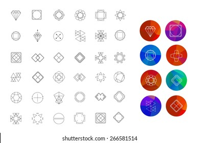 Set of colored geometric crystal circles in polygon style with geometric shapes. Abstract Geometric Patterns Set with Hipster Style Icons for Logo Design.  Geometric hipster retro background