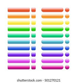 set of colored glass buttons glossy icons for web. vector design rectangle square circle round