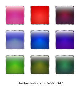 Set of colored glass buttons with metallic frame. 3d glossy icons for web. Vector design square