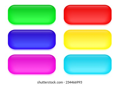 Set of colored glass buttons. Vector illustration.